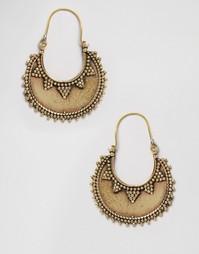 Серьги-кольца ручной работы Reclaimed Vintage - Золотой