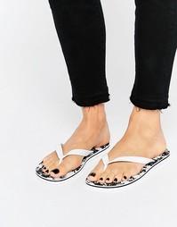Черно-белые шлепанцы с принтом пальм adidas Originals - Белый