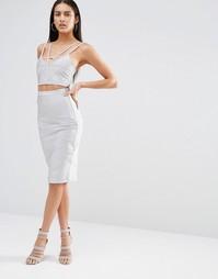 Бандажная юбка миди с перекрестной отделкой Missguided - Серый