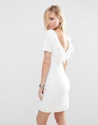 Платье мини с оборкой на спинке ASOS - Слоновая кость