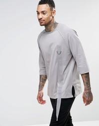 Длинная футболка с рукавами 3/4 и вставкой-лентой ASOS - Бежевый