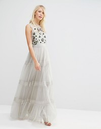 Многоярусное платье макси Needle & Thread Woodland - Серый