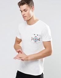 Футболка с контрастным принтом на кармане Esprit - Белый