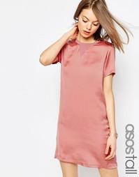Платье-футболка с атласной вставкой спереди ASOS TALL - Розовый