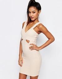 Облегающее платье в рубчик с вырезами Ariana Grande for Lipsy