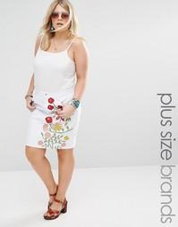 Джинсовая юбка-трапеция с цветочной вышивкой Alice & You - Белый