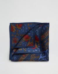 Шелковый платок для нагрудного кармана с принтом ASOS - Темно-синий