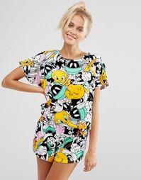 Пижамная футболка и шорты ASOS Looney Toons - Мульти