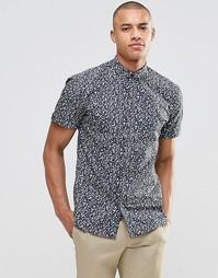 Узкая рубашка с короткими рукавами Selected Milton - Темно-синий