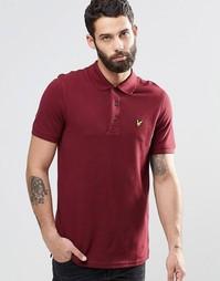 Однотонная футболка-поло из пике Lyle & Scott - Красный