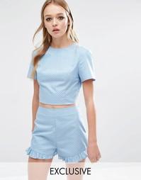 Комбинируемая укороченная футболка в горошек Reclaimed Vintage - Синий