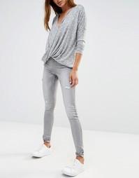 Зауженные рваные джинсы Noisy May Lucy - Серый