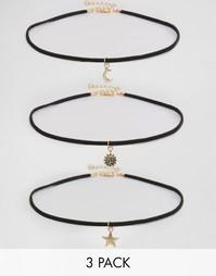 Набор ожерелий со звездой, луной и солнцем Reclaimed Vintage - Черный