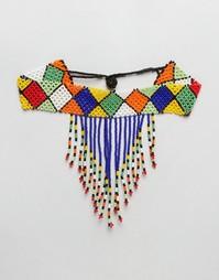 Броское ожерелье-чокер из бисера Reclaimed Vintage - Мульти