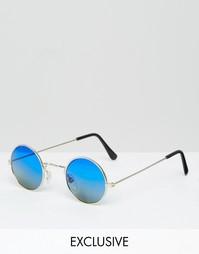 Круглые солнцезащитные очки с голубыми стеклами Reclaimed Vintage