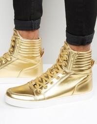 Золотистые кроссовки с высокими манжетами и молниями ASOS - Золотой