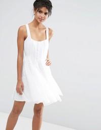 Приталенное платье с кружевными вставками ASOS - Белый