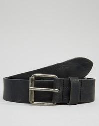Кожаный ремень с винтажной отделкой ASOS - Черный