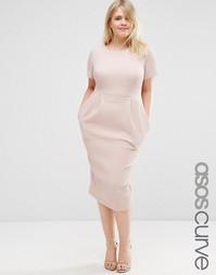 Облегающее фактурное платье миди ASOS CURVE - Телесный