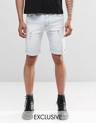 Потертые выбеленные джинсовые шорты слим Liquor & Poker - Выбеленный