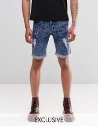 Синие потертые джинсовые шорты слим с эффектом кислотной стирки Liquor