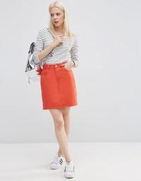 Красная джинсовая юбка с завышенной талией ASOS - Цветной деним