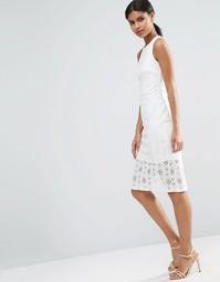 Платье-футляр с кружевной юбкой ASOS Occasion - Слоновая кость