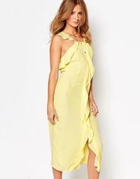 Платье миди с рюшами спереди и пуговицами Millie Mackintosh - Лимонный