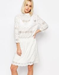 Платье с вышивкой ришелье Gestuz Risa - Белый