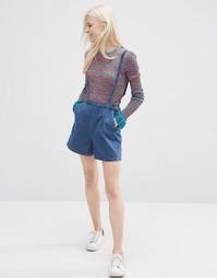 Джинсовые шорты на подтяжках ASOS - Синий