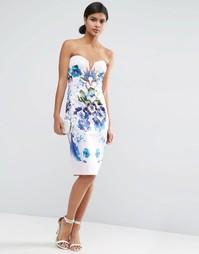 Платье-футляр бандо с цветочным принтом ASOS - Мульти