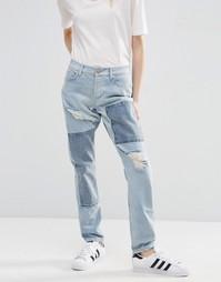 Светлые джинсы бойфренда с заплатками ASOS Brady - Светло-голубой