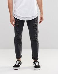 Черные узкие джинсы стретч с прорехами ASOS - Черный