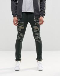 Рваные супероблегающие джинсы цвета хаки ASOS - Хаки