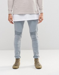 Голубые супероблегающие джинсы с отделкой в байкерском стиле ASOS