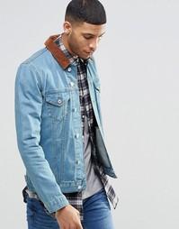 Джинсовая зауженная куртка с вельветовым воротником ASOS - Синий