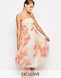 Платье миди для выпускного из тюля с цветочным принтом True Violet