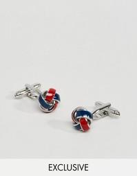 Сине-красные запонки с эмалированными узелками Reclaimed Vintage