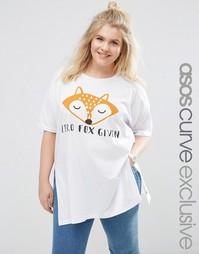 Oversize-футболка ASOS CURVE Zero Fox Given - Белый