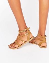 Светло-коричневые кожаные сандалии в гладиаторском стиле с заклепками Faith