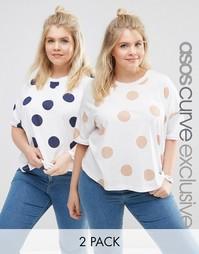 2 oversize‑футболки в горошек ASOS CURVE - Мульти