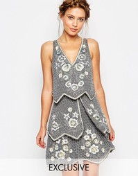 Декорированное многоярусное платье Frock and Frill - Серый
