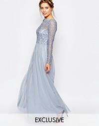 Платье макси с кружевным верхним слоем Frock and Frill - Нежно-голубой
