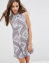 Платье-рубашка без рукавов с принтом Influence - Мульти