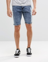 Синие мраморные джинсовые шорты Systvm - Синий