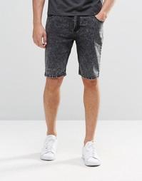 Черные мраморные джинсовые шорты Systvm - Черный