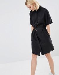 Платье-рубашка с поясом и D-образным кольцом ADPT - Черный