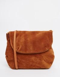 Замшевая сумка через плечо Pieces - Рыжий
