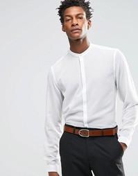 Белая рубашка стандартного кроя с длинными рукавами и прозрачными поло Asos