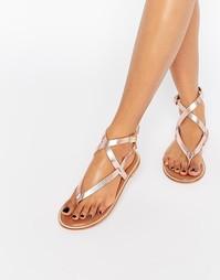 Кожаные гладиаторские сандалии цвета металлик Selected Femme Alessa
